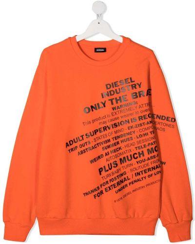 Оранжевый свитшот круглый с длинными рукавами Diesel Kids