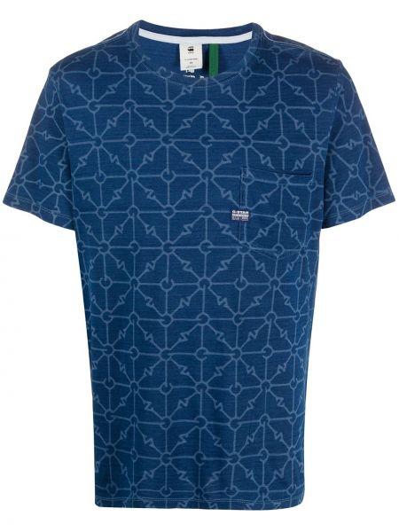 Хлопковая синяя футболка с рисунком с вышивкой с карманами G-star Raw