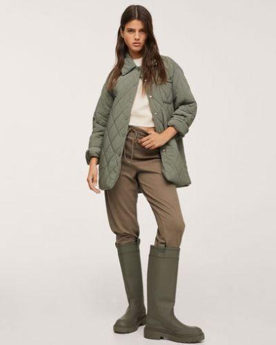 Куртка средней длины хаки Mango