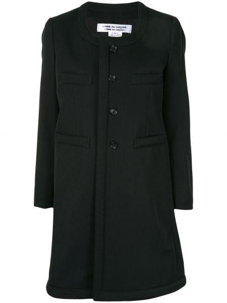 Однобортное шерстяное черное длинное пальто Comme Des Garçons Comme Des Garçons
