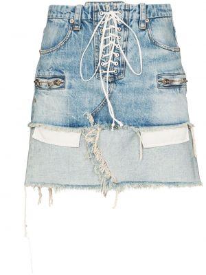 Хлопковая синяя джинсовая юбка с поясом на шнуровке Unravel Project