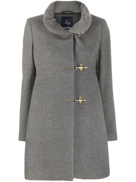Шерстяное прямое серое длинное пальто с подкладкой Fay