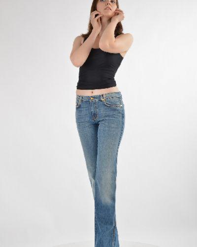 Расклешенные джинсы с эффектом потертости синие Roberto Cavalli