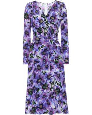 Платье миди с запахом с цветочным принтом Dolce & Gabbana