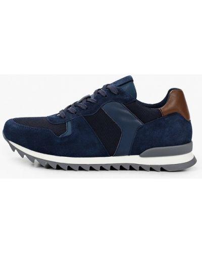Синие кожаные кроссовки Mascotte