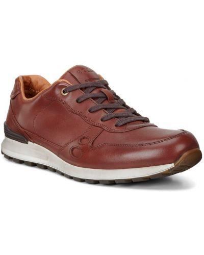 Кожаные кроссовки на каблуке коричневый Ecco