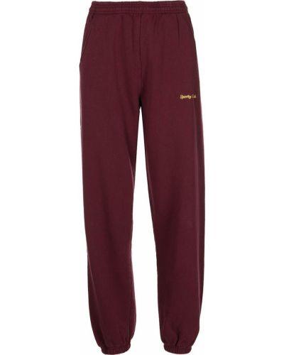 Czerwone spodnie sportowe z wysokim stanem bawełniane Sporty And Rich