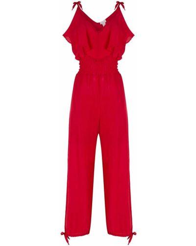 Свободный шелковый красный комбинезон Brigitte