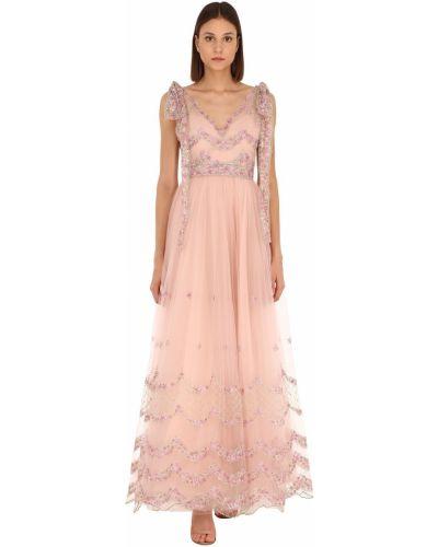 Розовое платье макси свободного кроя с вышивкой Luisa Beccaria