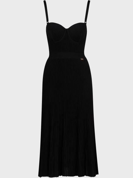 Черное платье из вискозы на молнии Elisabetta Franchi