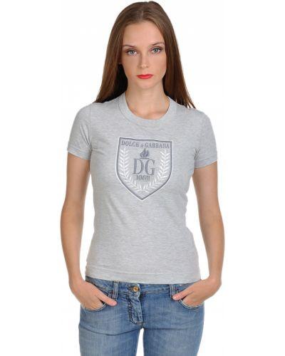 Серая футболка хлопковая Dolce & Gabbana