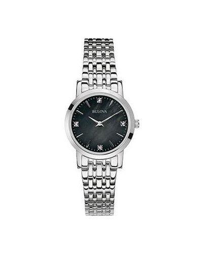 Кварцевые часы водонепроницаемые с бриллиантом Bulova
