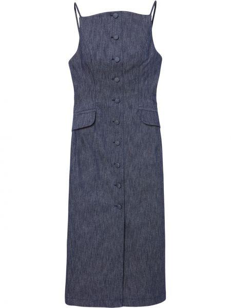 Хлопковое синее платье миди с вырезом Carolina Herrera