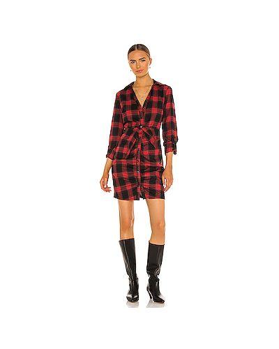 Хлопковое красное платье с поясом Likely