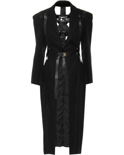 Шерстяное черное пальто с опушкой Junya Watanabe