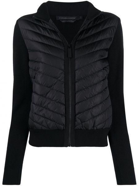 Нейлоновая черная куртка на молнии с вырезом Canada Goose