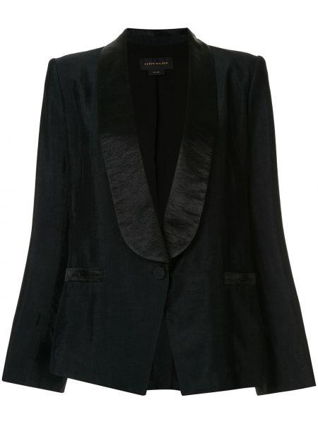 Прямой черный удлиненный пиджак на пуговицах Karen Walker