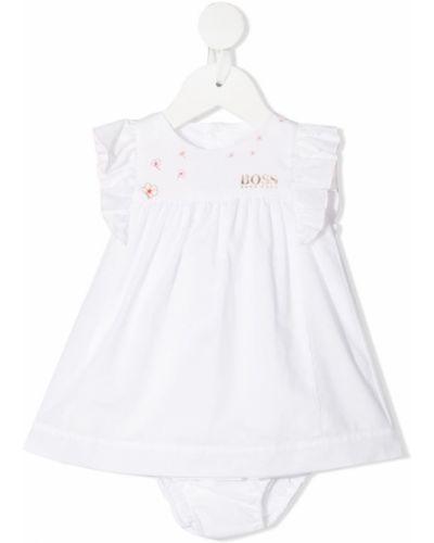 Biały szlafrok bawełniany z printem Boss Kidswear