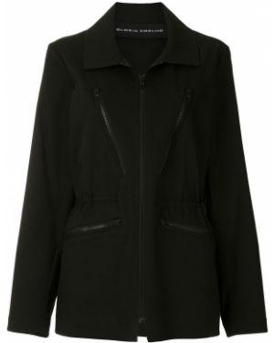 Черная пальто классическое с воротником с поясом Gloria Coelho