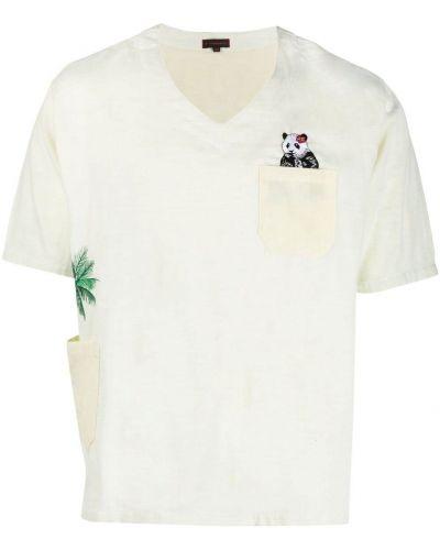 T-shirt bawełniany z dekoltem w serek krótki rękaw Clot