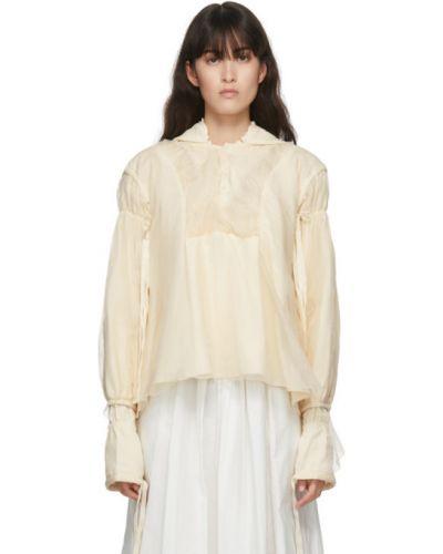 С рукавами шелковая бежевая блузка с длинным рукавом с манжетами Renli Su