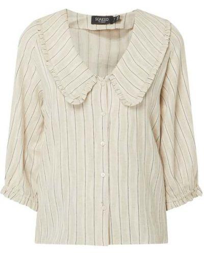 Beżowa bluzka w paski bawełniana Soaked In Luxury