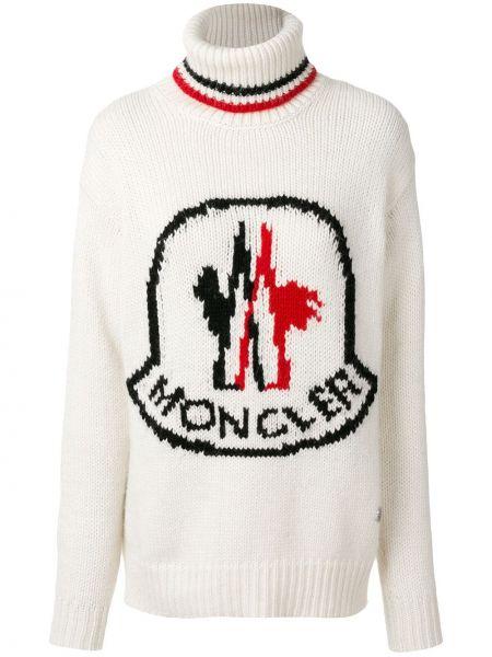 Белый свитер длинный Moncler Gamme Rouge