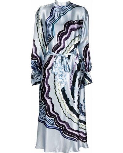 Синее шелковое платье на пуговицах с воротником Temperley London