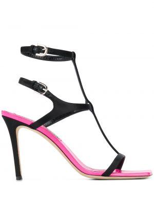 Otwarty czarny sandały z klamrą z prawdziwej skóry Emilio Pucci