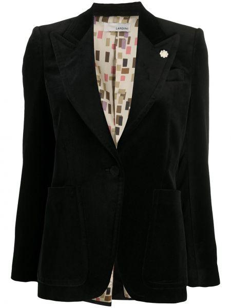Черный приталенный удлиненный пиджак с лацканами Lardini