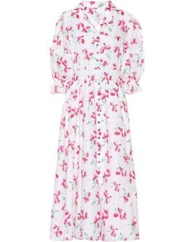 Плиссированное розовое льняное платье миди для полных Gül Hürgel