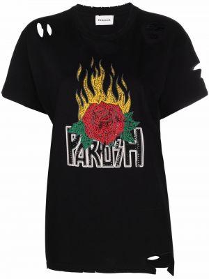 Черная футболка короткая P.a.r.o.s.h.