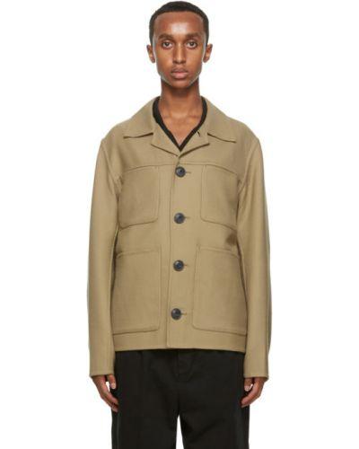 Bawełna bawełna długa kurtka z łatami z długimi rękawami Ami Alexandre Mattiussi