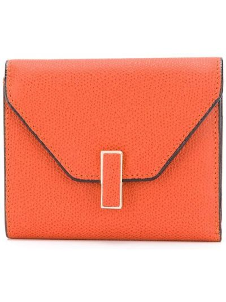 Кожаный оранжевый кошелек для монет с декоративной отделкой Valextra