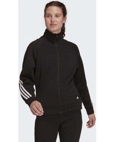 Черная спортивная олимпийка в полоску Adidas