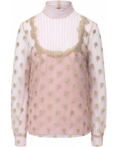 Блузка с длинным рукавом кружевная розовая Valentino
