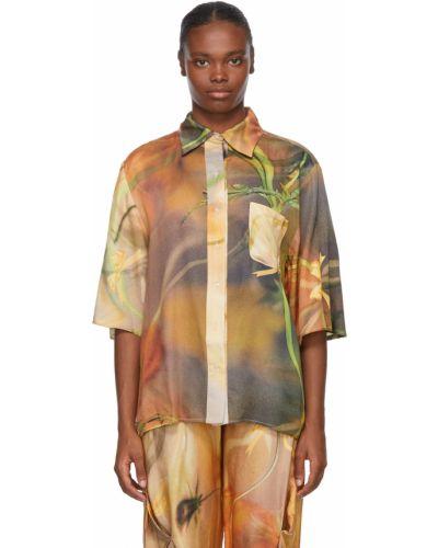 Koszula z jedwabiu - pomarańczowa Collina Strada