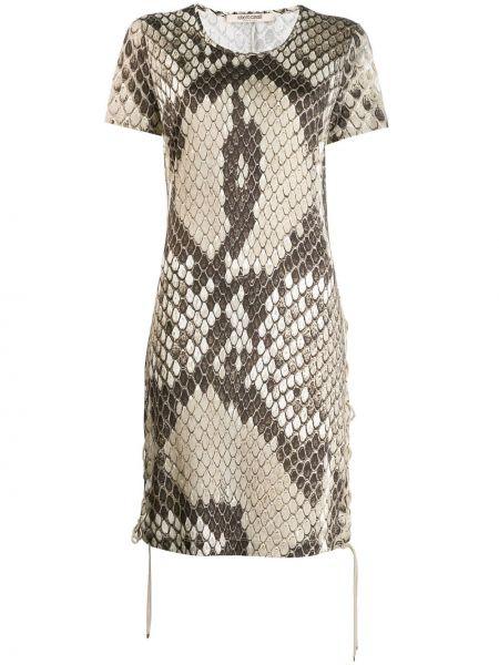 Прямое с рукавами кожаное платье мини Roberto Cavalli