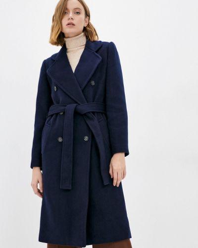 Пальто двубортное - синее Moru