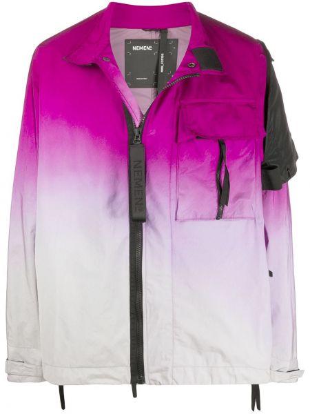 Нейлоновая розовая длинная куртка на резинке с манжетами Nemen
