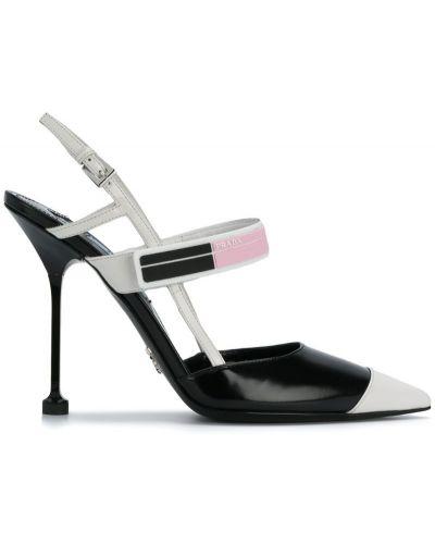 Туфли с ремешком на высоком каблуке с открытой пяткой Prada