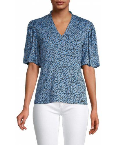 Синяя блузка из вискозы с V-образным вырезом T-tahari