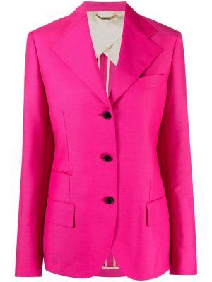 Однобортный розовый удлиненный пиджак с карманами Versace