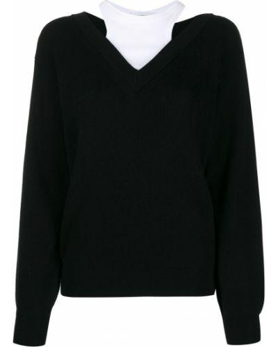 Свободные шерстяной черный джемпер свободного кроя T By Alexander Wang
