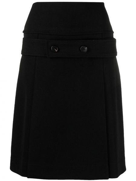 Шерстяная черная с завышенной талией юбка миди Victoria Beckham