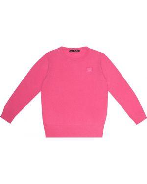 Шерстяной розовый свитер Acne Studios Kids