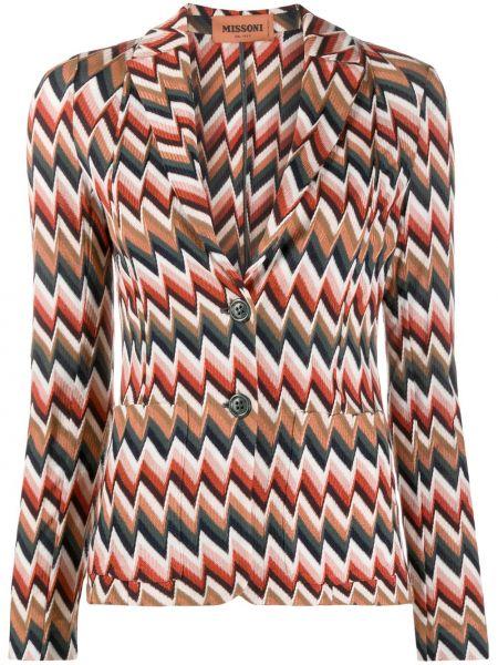 Прямой шерстяной удлиненный пиджак на пуговицах Missoni
