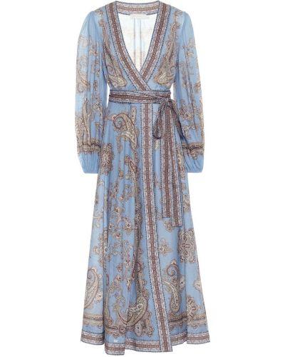 Ватное хлопковое синее платье макси Zimmermann