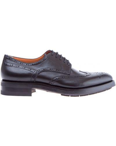 Кожаные туфли на шнуровке итальянские Santoni