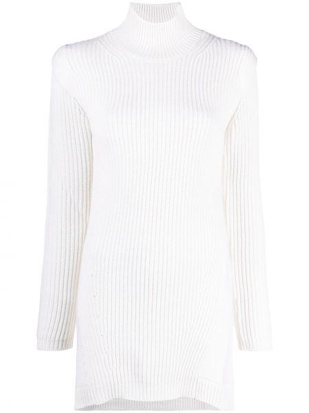 С рукавами трикотажное белое платье макси Dondup